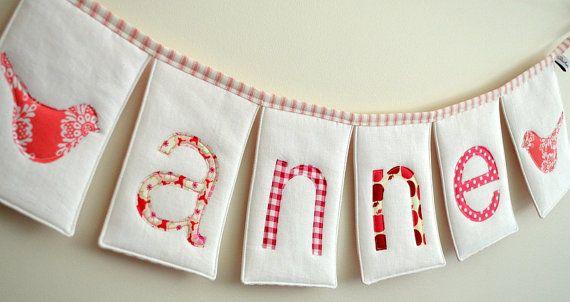 Custom Personalised Name Bunting - Petal and Raspberry