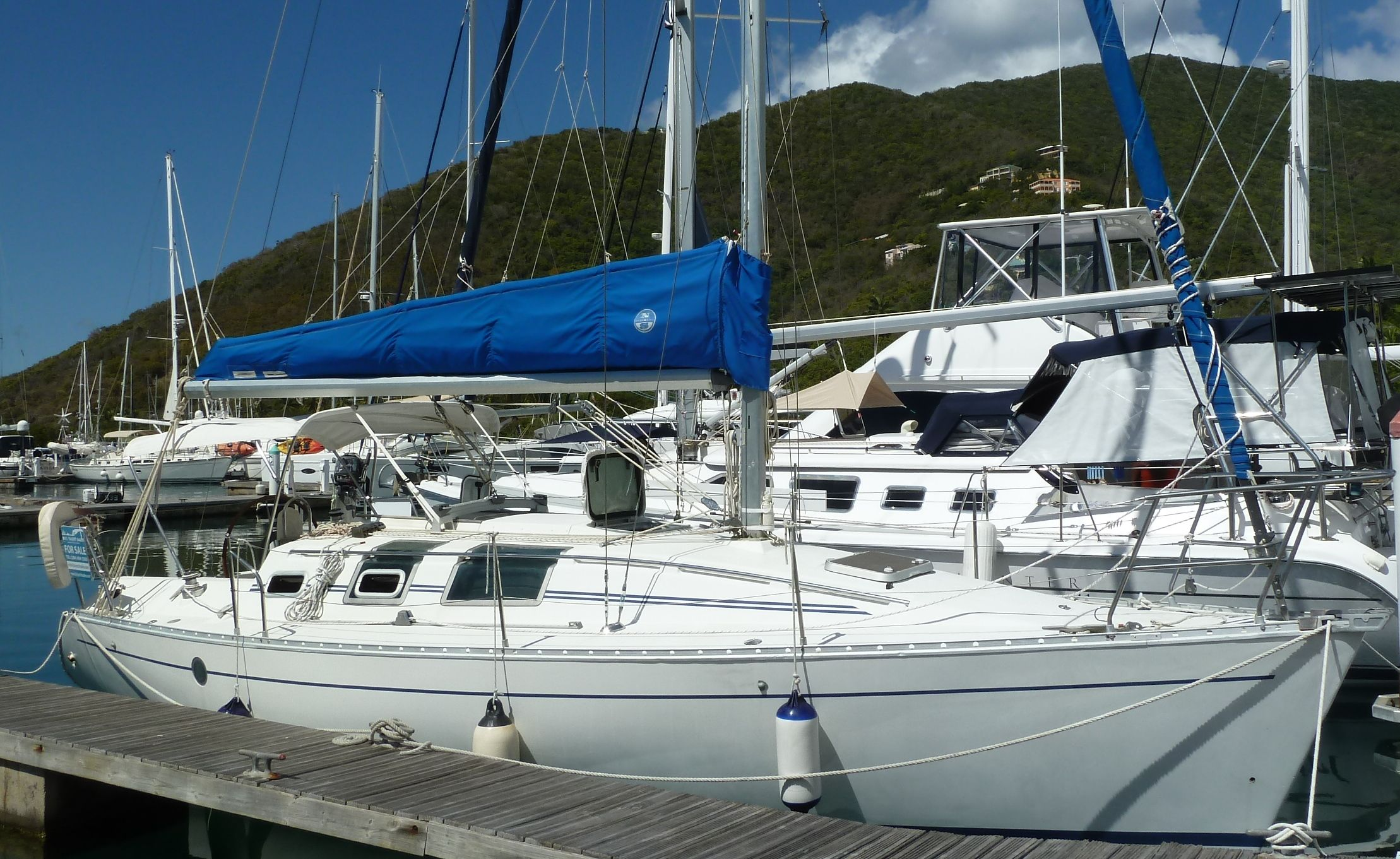32' Beneteau First 32s5, 1990 Asking $29,950 chris@bviyachtsales.com True performance combined with ease of handling and a comfortable interior are the hallmarks of the Beneteau First 32s5. A clean deck layout, uncomplicated sail plan and a fast hull designed by Jean Berret make sailing her a joyous experience. Island Hopper is a unique offering, having been in private use for over a decade now she has been more heavily upgraded than any other boat of this size.