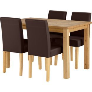 Buy Madison Oak Stain Dining Table and 4 Chocolate Chairs at Argos