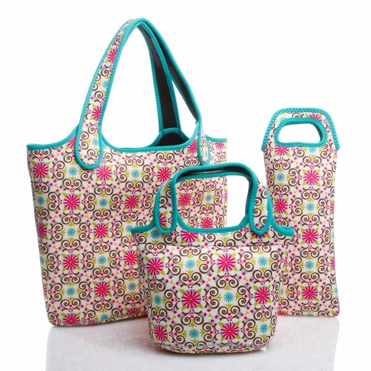 """Work hard, play hard' with this trio: a laptop bag, insulated lunch tote and wine sleeve that travel in style."""""""