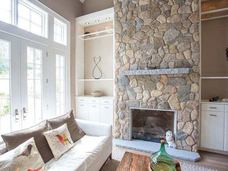Fireplace Design fireplace veneer : Round New England Stone Fireplace. Fireplace Project with Thin ...
