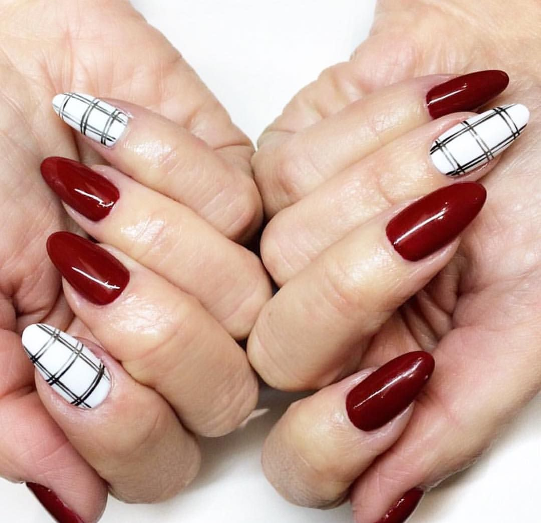 Nail Art Tutorial All I Want For Christmas Is Plaid: Holiday Red And White Plaid Nail Art Perfect For December