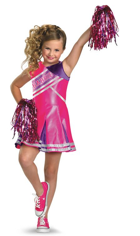 Barbie Cheerleader Costume Barbie Cheerleader Child CostumeCheer your team  to victory! Costume includes  Dress and pom poms. Available Sizes  Small  4-6 ... 04bd0fc91
