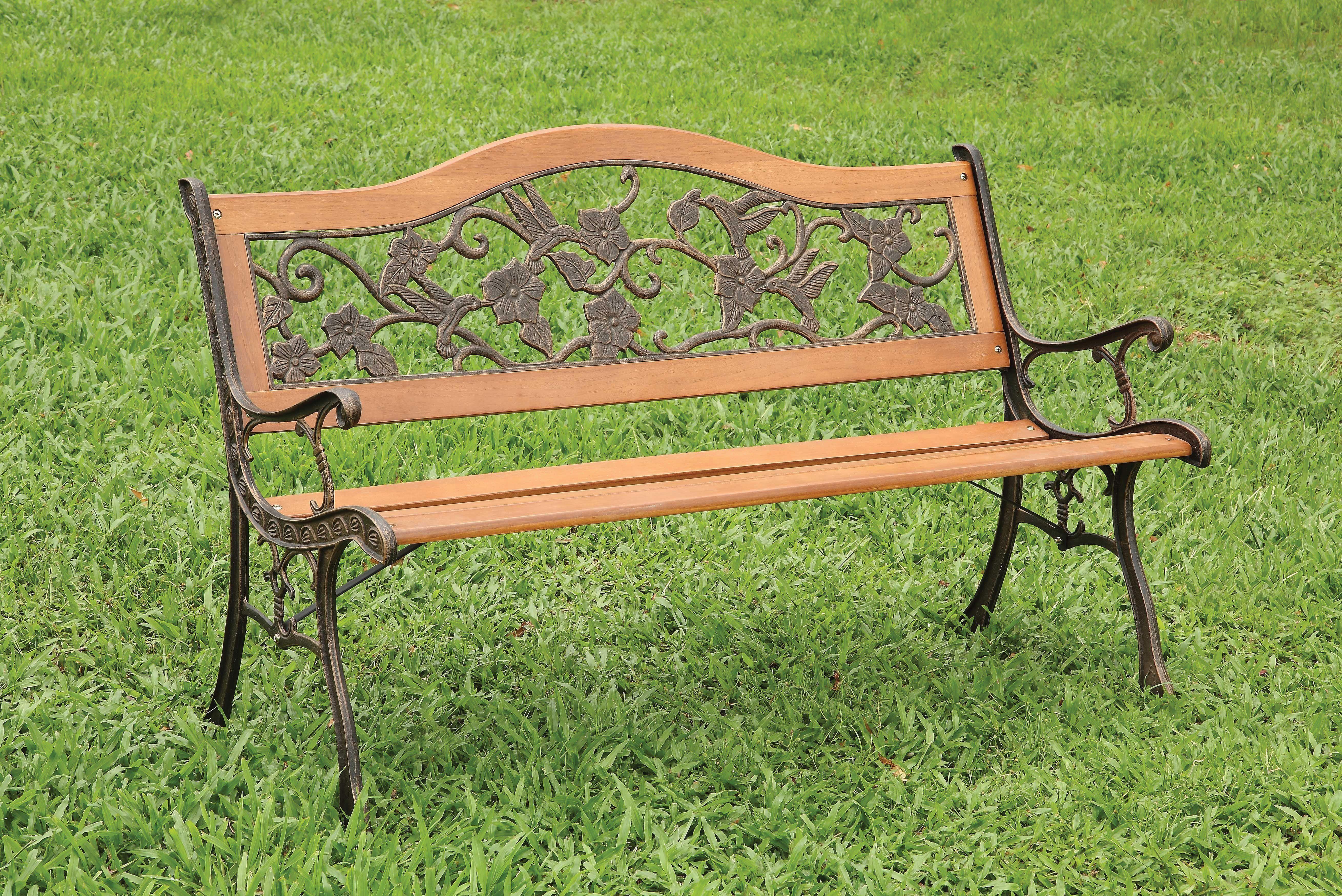 alverdon cottage style floral back outdoor patio bench outdoor garden bench patio bench metal garden benches