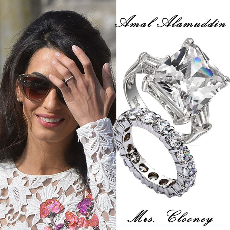 Her Earrings Matched Her Pave Diamond Eternity Wedding Band... | Amal  Clooney Style | Pinterest | Amal Clooney And Diamond