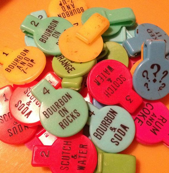 4pcs RETRO DRINK MARKERS 1960s Vintage by cOveTableCuriOsitiEs, $4.95