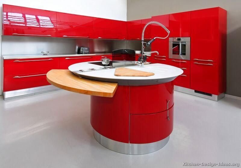modern curved kitchen island. Fine Island Modern Red Kitchen Cabinets KitchenDesignIdeasorg In Curved Island