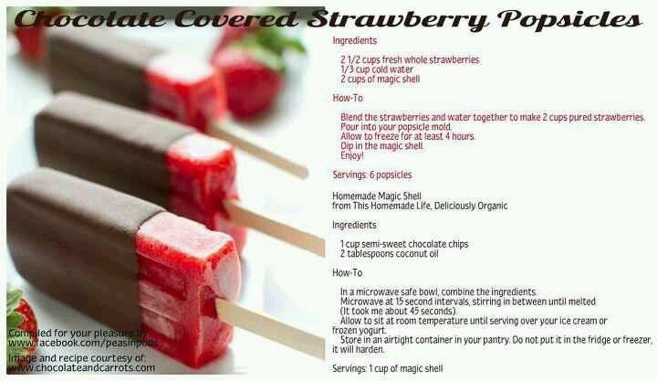 chocolate covered strawberry popsicles