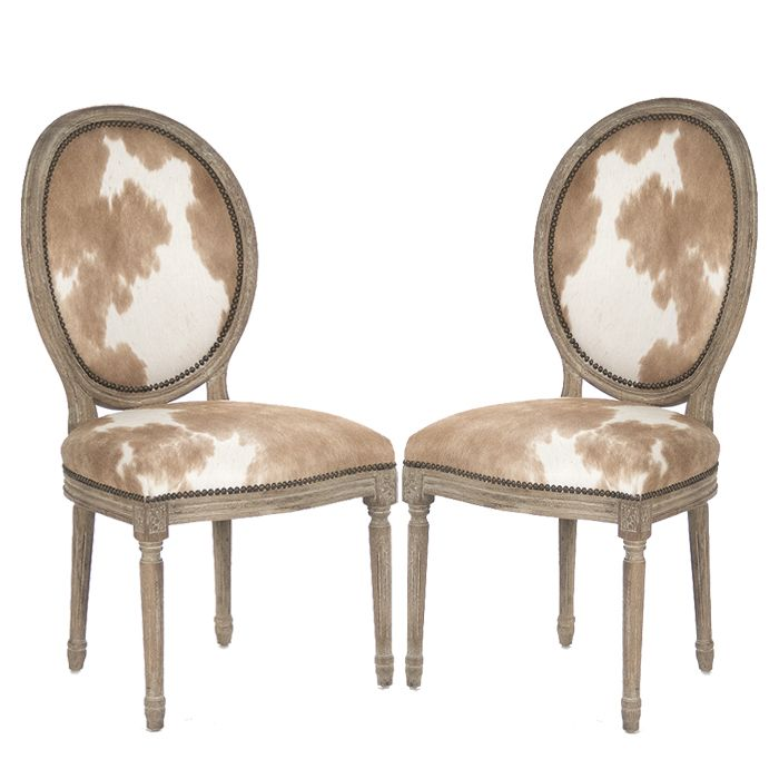 Cowhide Side Chairs With Nail Head Trim