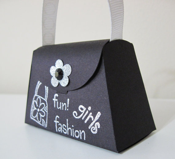 Girls Fun Black and Silver Paper Purse Favors by thepaperpicasso, $9.00