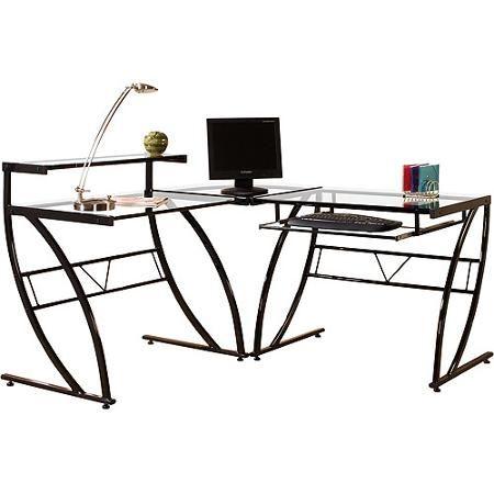 Florence L Shaped Glass Desk Black And Clear Walmart Com L Shaped Glass Desk Glass Desk Glass Computer Desks