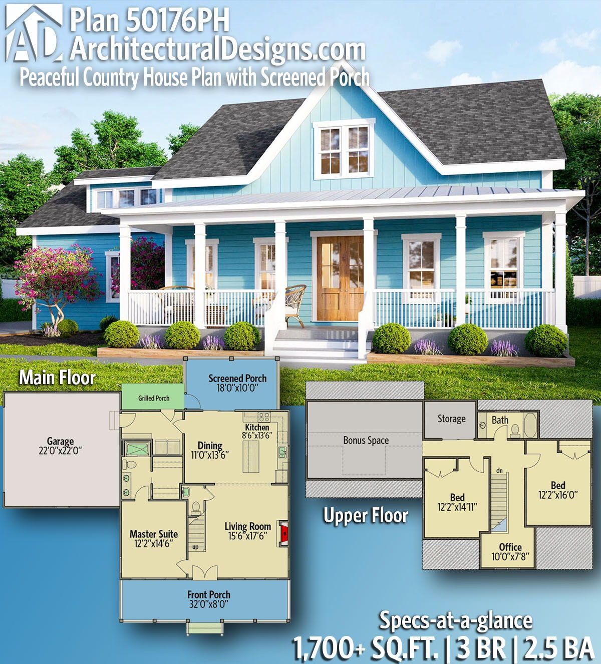 Plan 50176ph Peaceful Country House Plan With Screened Porch
