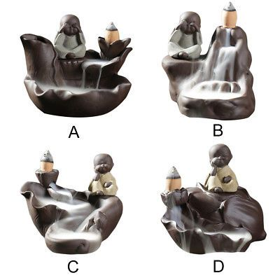 Details about Cute Monk Waterfall Incense Burner Smoke