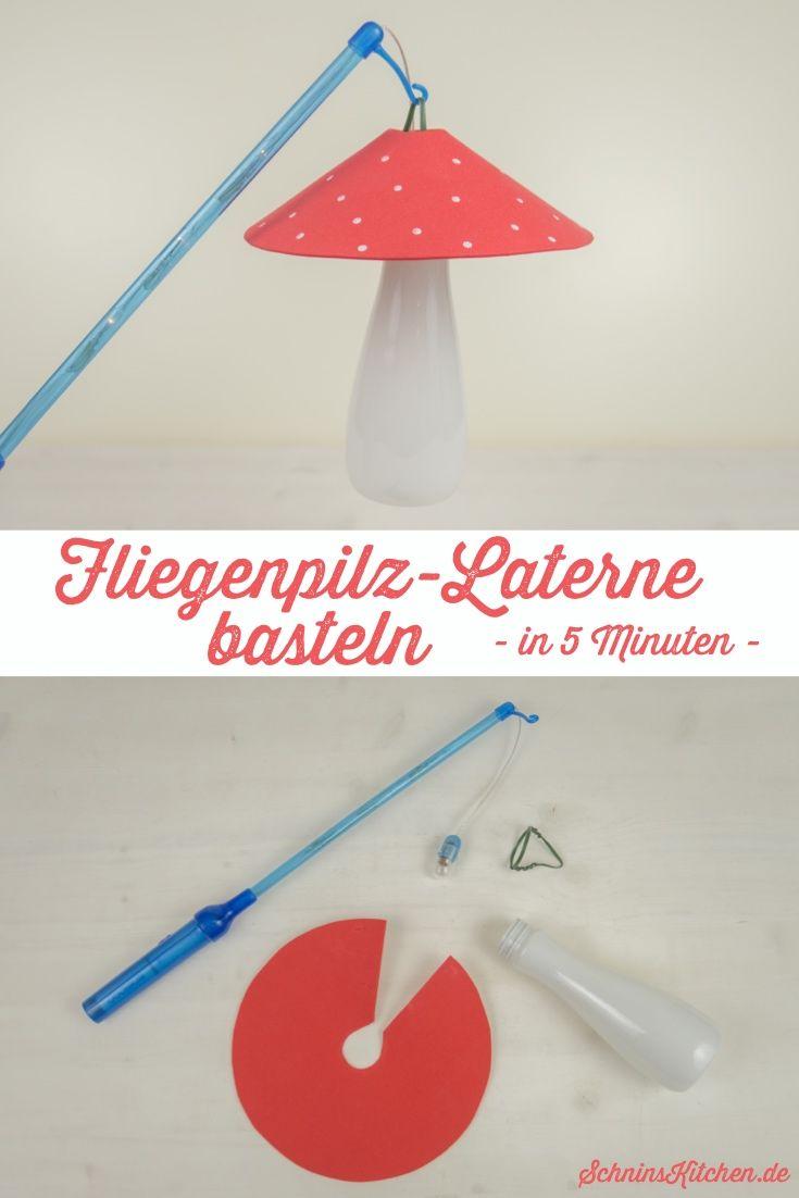 DIY Fliegenpilz-Laterne basteln in 5 Minuten - Schnin's Kitchen #bastelnmitkastanienkinder