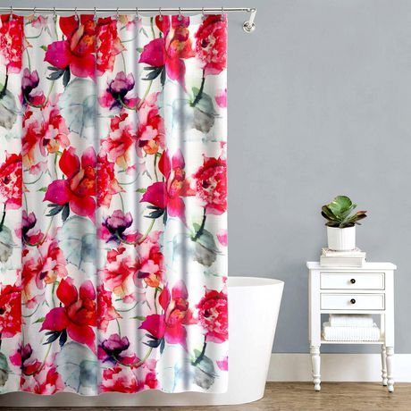 Splash Home Touch Of Rose 70 X 72 Polyester Fabric Pink Shower