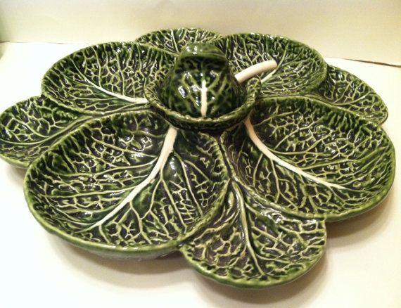 Majolica Cabbage Relish Tray