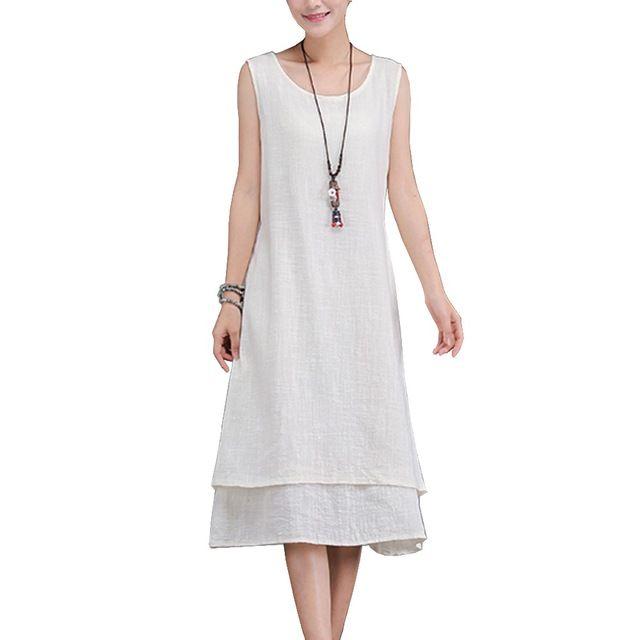 Clobee Verano estilo 2017 femininos vestidos de algodón de lino de ...