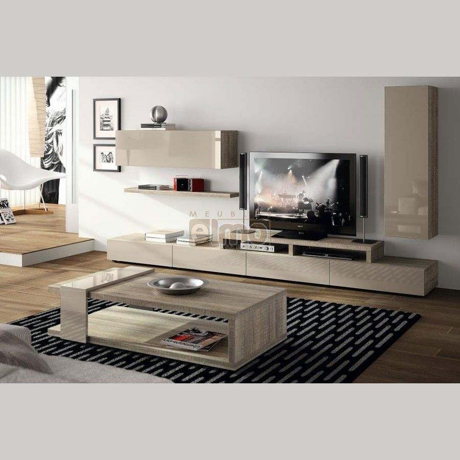 Meuble t l vision design contemporain bois et laque for Meuble tele contemporain