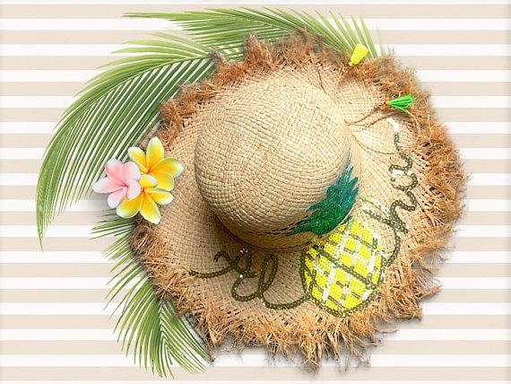 d27f00c18 Aloha Beach Hat | Raw Edge Straw Floppy Hat | Fringe Sun Hat ...