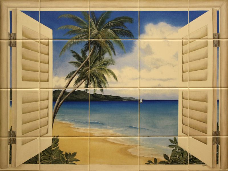 Elegant Beach Kitchens | Ceramic Tile Murals For Kitchen Or Barbeque Backsplash And  Bathroom . Part 5