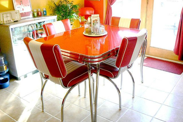 Retro 1950's Dinette Table in red