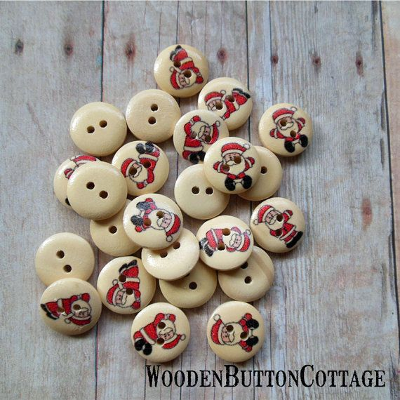 12 Christmas Santa 15mm 2-hole Wooden by WoodenButtonCottage