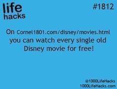 Cornel 1801.com/disney/movies.html. Watch every single old Disney movie for free! (could be Cornet?) Life hacks #lifehacks #disneymovies