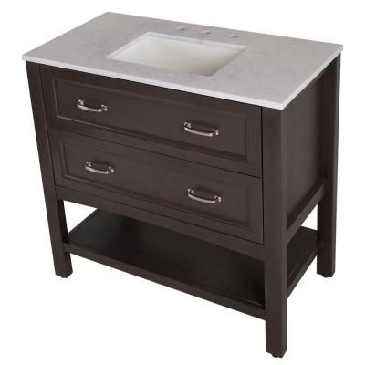 Home Decorators Collection Abbey 36 5 In W X 19 In D Vanity In Pewter With Stone Effects Vanity Top In Ca Home Decorators Collection Vanity Top Vanity Combos