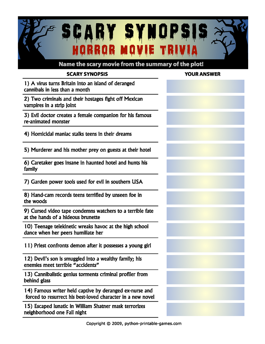 horror movie trivia scary synopsis game