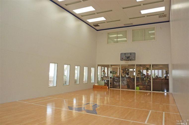 Indoor basketball court is always a plus indoor