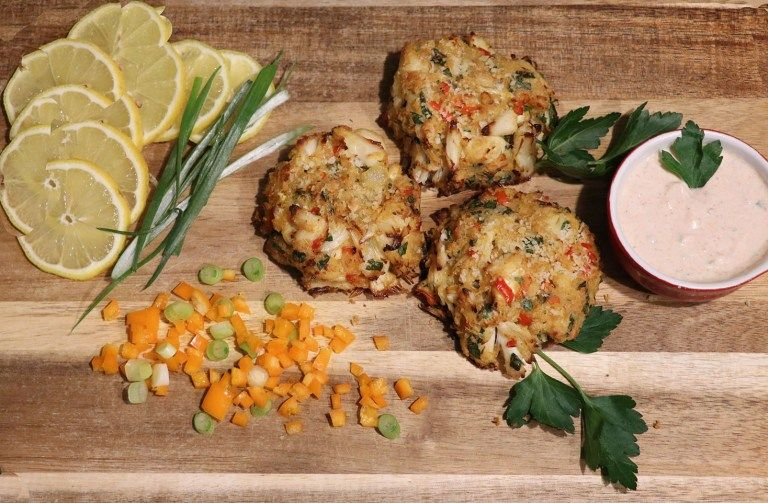 Crab cake in a spicy yogurt sauce the wacky spoon in