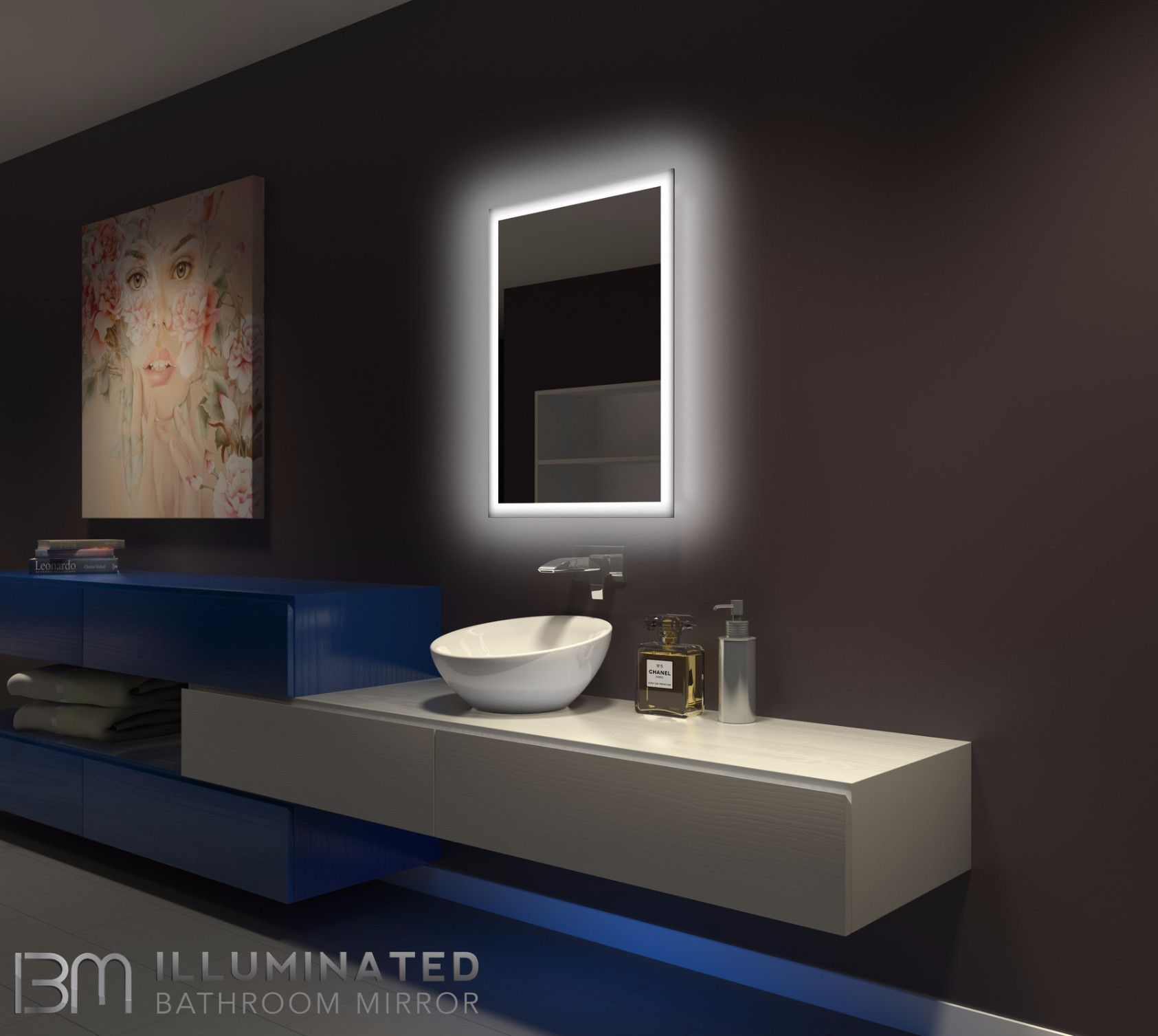 Type Backlit Mirror Shape Rectangle Size 24 X 32x 2 Description Dimmable On A Wall Switch 42 Backlit Mirror Mirror Wall Bathroom Backlit Bathroom Mirror
