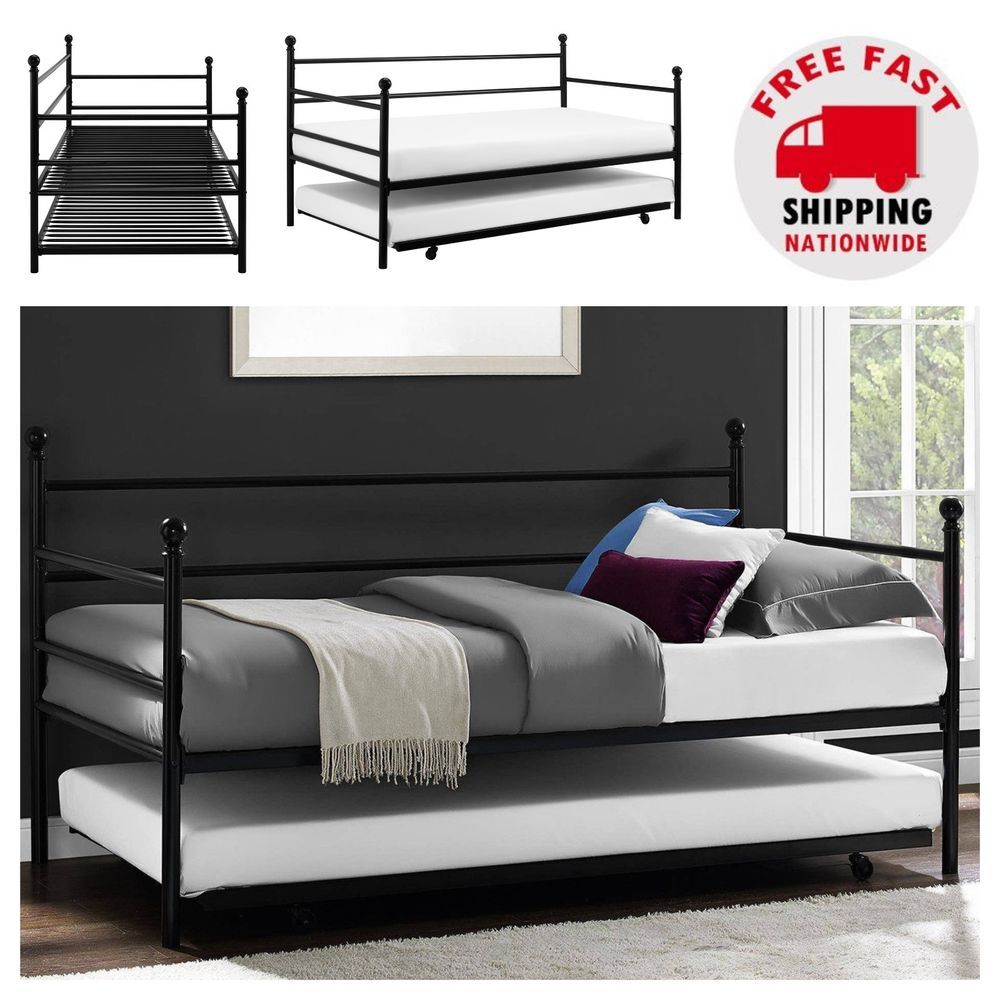 Black Daybed With Trundle Metal Frame Twin Size Small Living Space