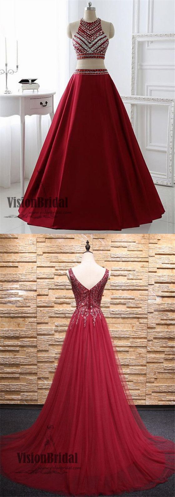 Dark red halter two pieces with beaded floor length prom dress