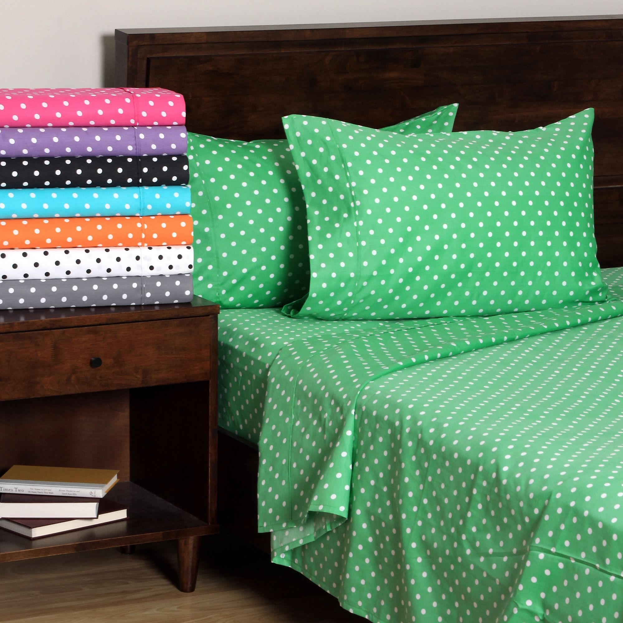 Superior 600 Thread Count Deep Pocket Polka Dot Cotton