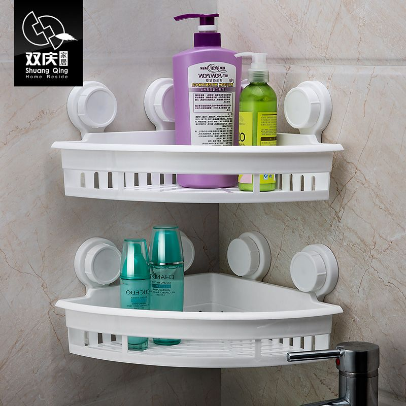 Shuangqing Suction Cup Shelf Bathroom Organizer Wall Shelf Corner Storage  Rack