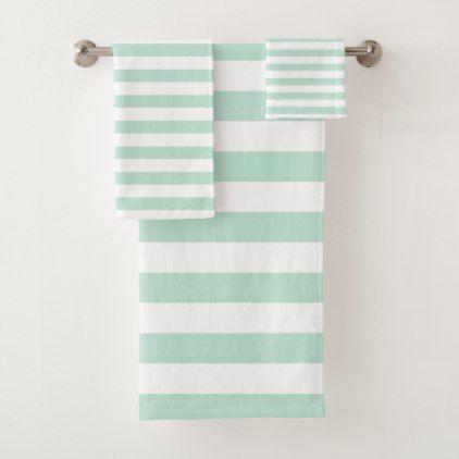 Mint Stripe Bath Towel Set Zazzle Com With Images Striped Bath Towels Bath Towels Luxury Towel Set