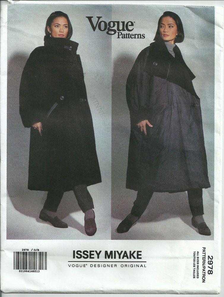 Vogue 2978 Designer Issey Miyake Reversible Coat Pattern Uncut Size ...