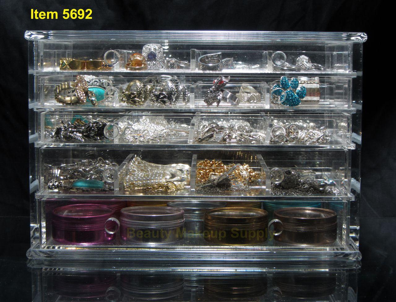 Luxury Acrylic 5 Drawer Jewelry Storage Organizer Box Sku 5692 Jewelry Organizer Storage Jewellery Storage Beauty Organization