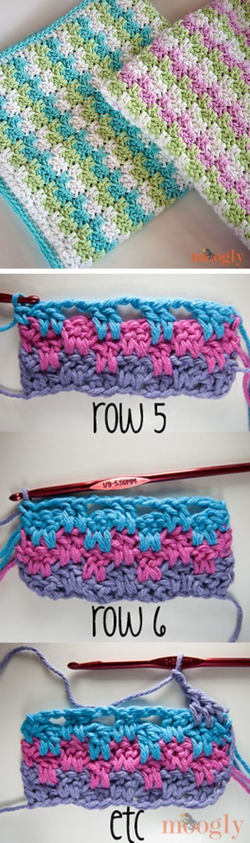 Free Crochet Pattern: Leaping Stripes and Blocks Blanket | einfache ...