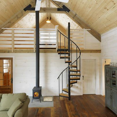 Small Space Loft Stairs Modern Cabin Rustic Family Room Loft Design