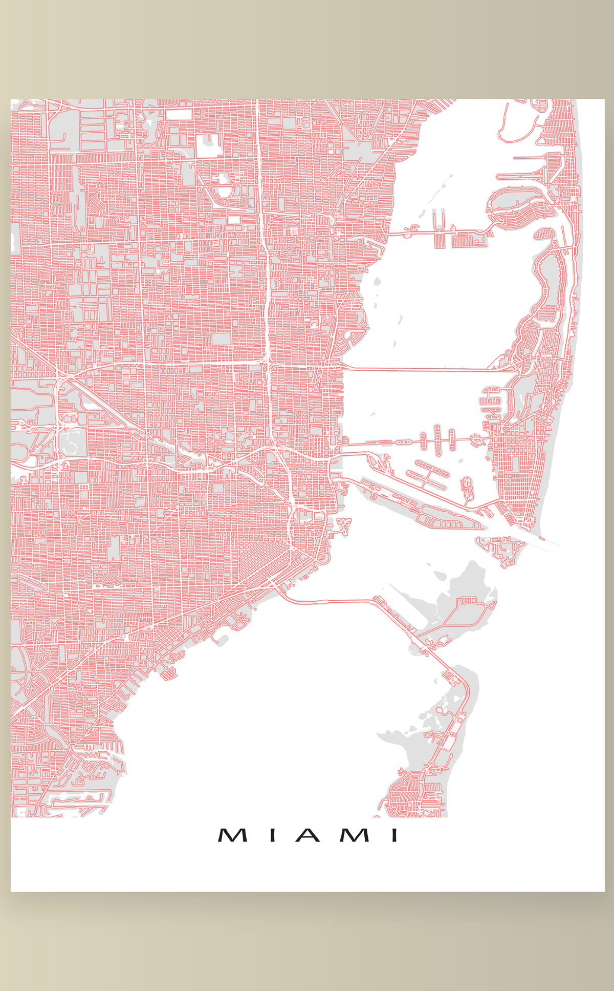 A Miami, FL map print with a colourful street network