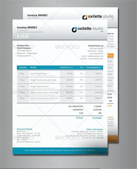 Indesign Company Invoice Templates  Indesign Invoice Template