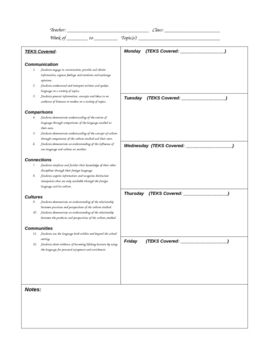 Lesson Plan Template For All Foreign Language Teachers