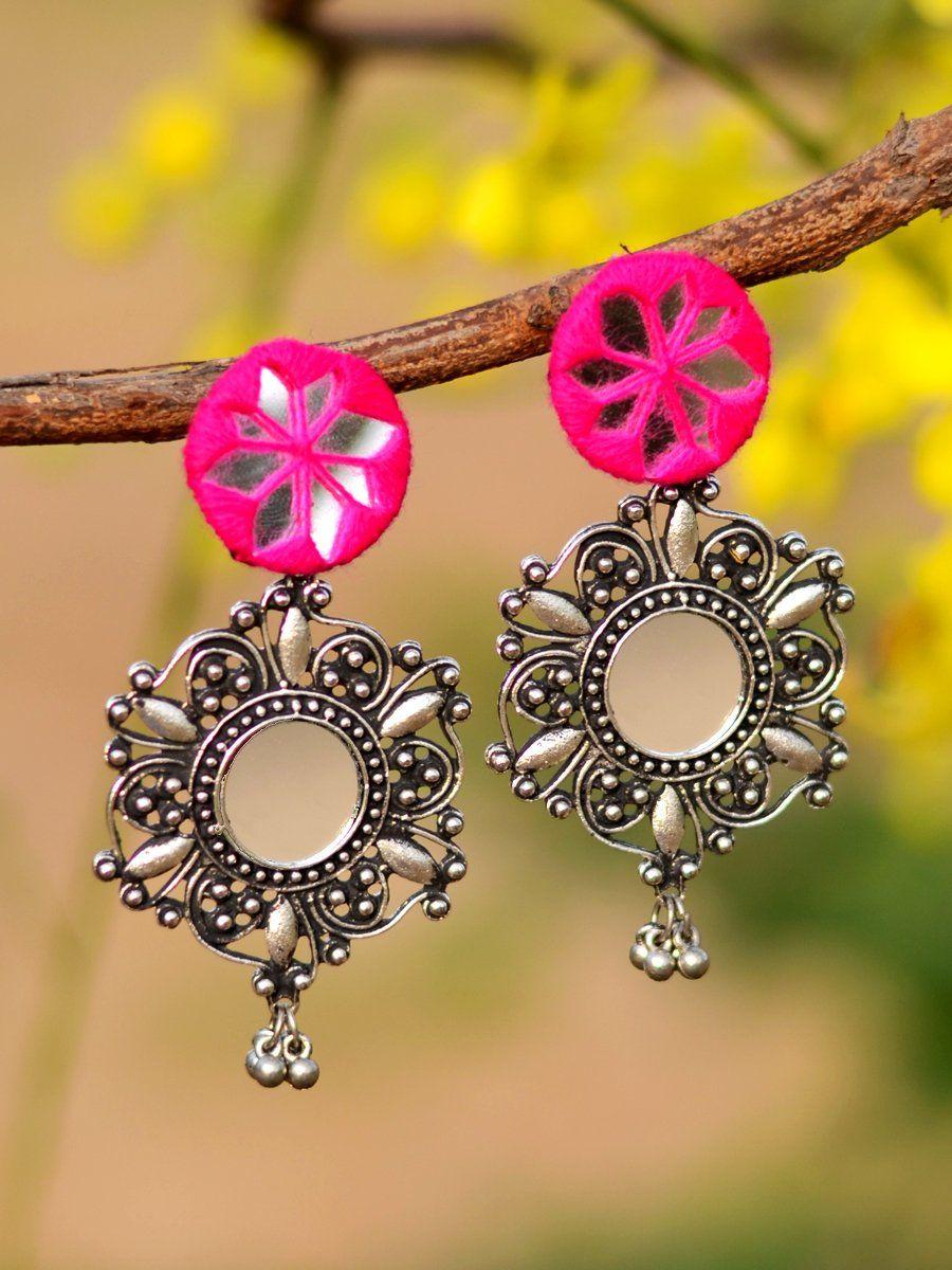 Noor Hand-embroidered Mirror Earrings   Fabric earrings, Hand ...