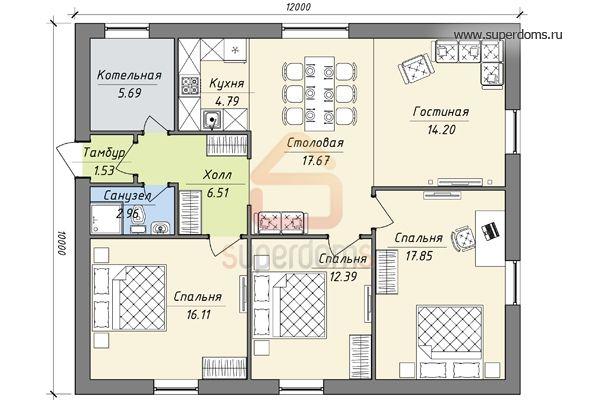 Одноэтажные дома 10 на 12 фото домов 187