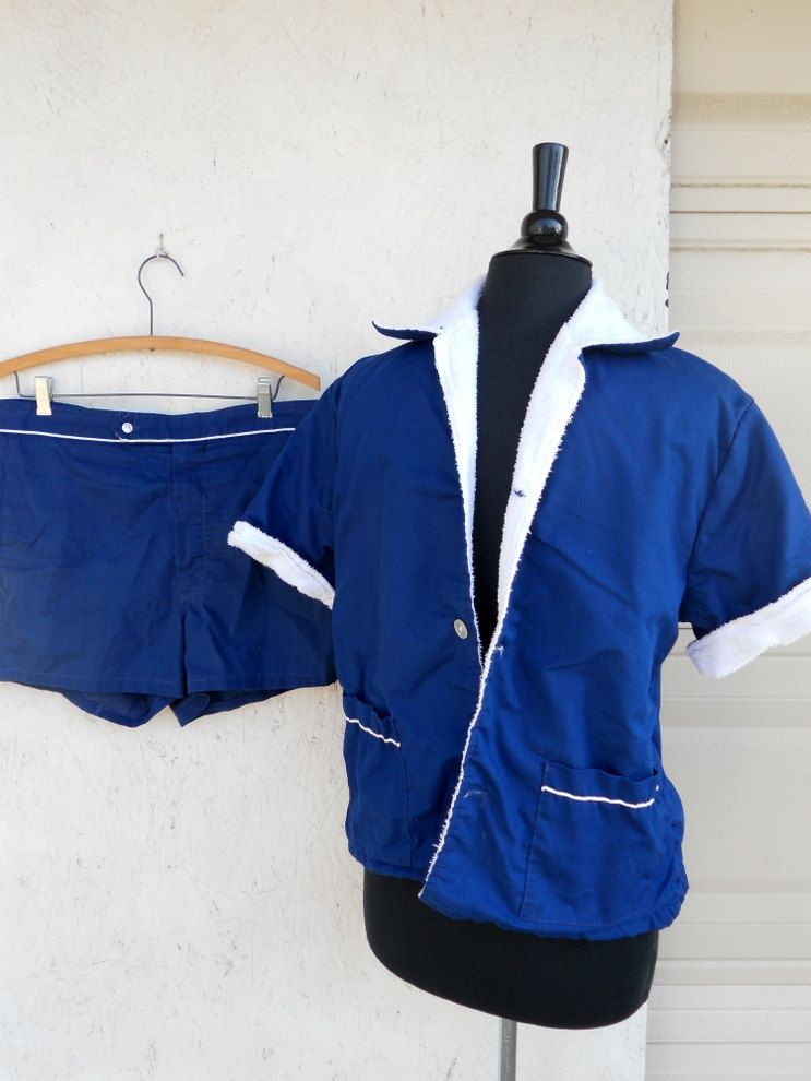 15827eb236 60s 70s Mens Swimsuit Cabana Set Terry Lined by freshlavender, $44.00