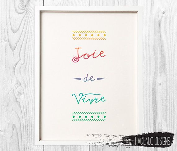 joie de vivre joy of living french phrase print por haciendodesigns