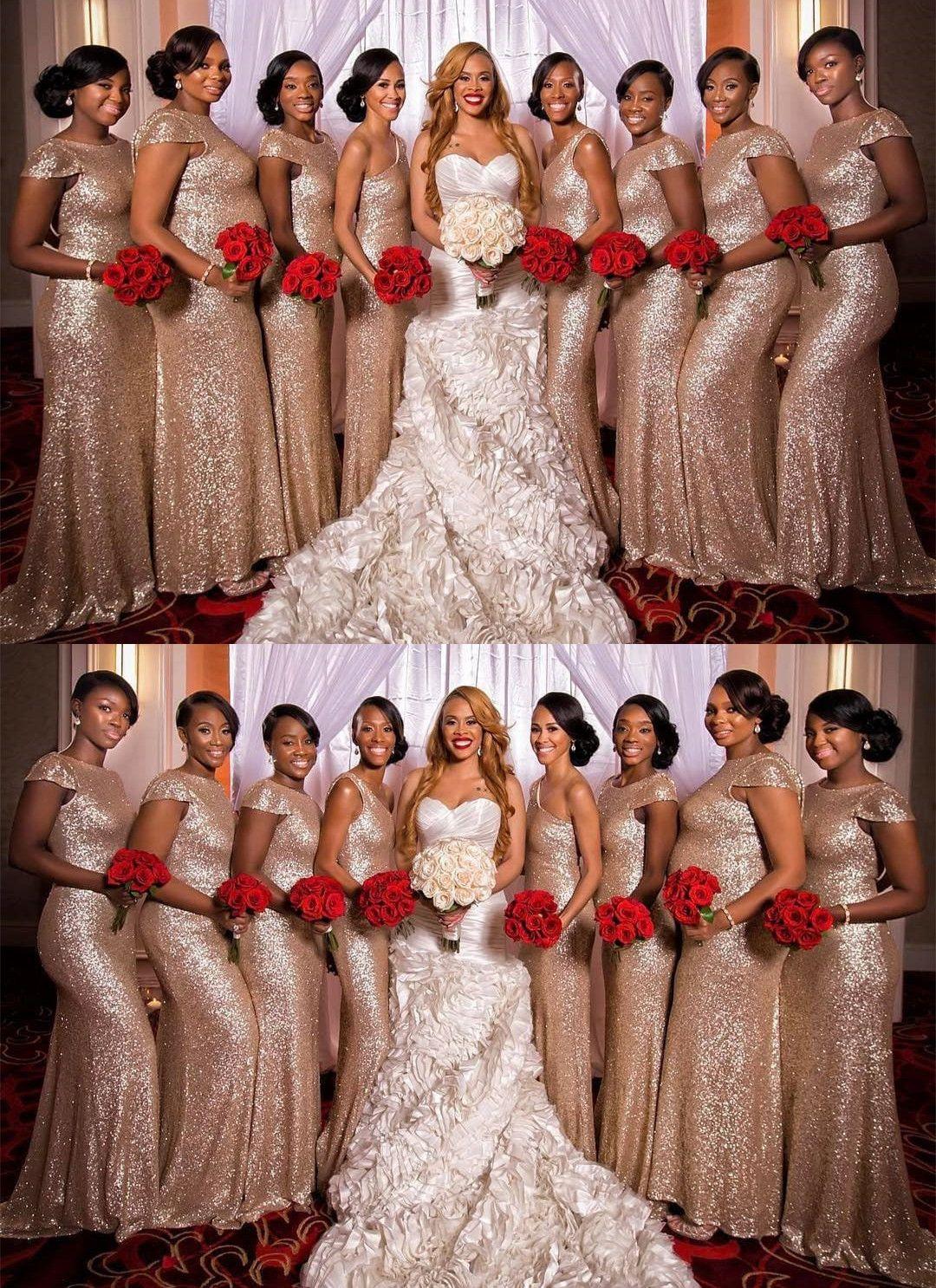 Chic Mermaid Long Sequins Gold Bridesmaid Dress With Cap Sleeves Mermaid Bridesmaid Dresses Gold Bridesmaid Dresses Rose Gold Bridesmaid Dress [ 1486 x 1080 Pixel ]