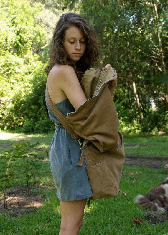 tan corduroy adjustable 3way back pack messenger bag by THREADBEAT, $225.00